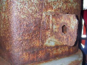 Severe corrosion damage on critical structural supports