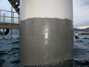 Repaired corroded platform leg using Belzona 5831 (ST-Barrier)